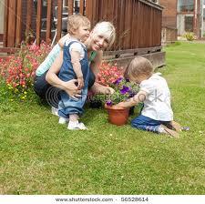 Au pair kid in the garden