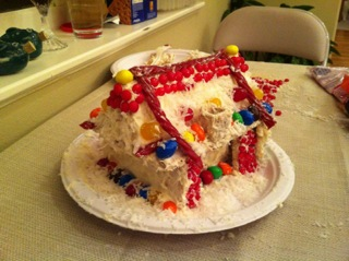 Au pair made a gingerbread house