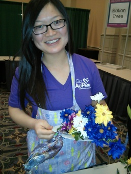 Au pair volunteering at the Philadelphia Flower Show