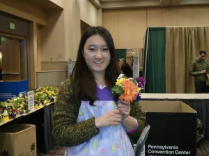 Aupair frpm China at the Philadelphia Flower Show