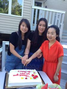 three Au Pairs from host family from Bucks County